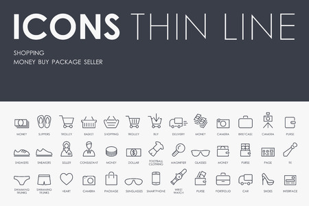 Thin Stroke Line Icons of shopping on White Background