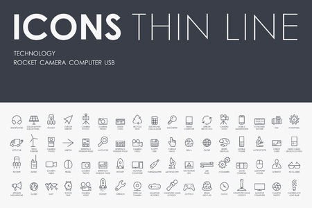 computer system: Thin Stroke Line Icons of technology on White Background Illustration