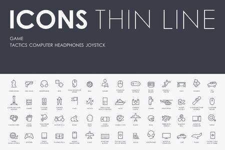 ine: Thin Stroke Line Icons of gaming on White Background