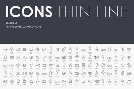 Thin Stroke Line Icônes de tourisme sur fond blanc