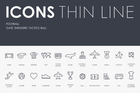 showground: Thin Stroke Line Icons of football on White Background