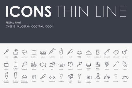 restaurant icons: Thin Stroke Line Icons of restaurant on White Background