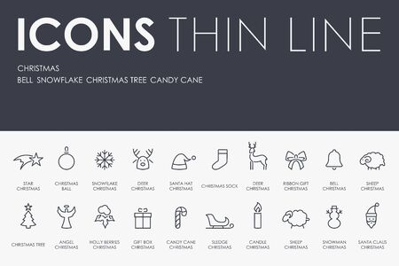 decorate mobile telephone: Thin Stroke Line Icons of Christmas on White Background Illustration
