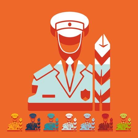 inspector: Flat design: customs inspector Illustration