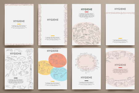 measures: Corporate identity vector templates set with doodles hygiene theme. Target marketing concept Illustration