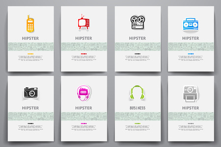 admirer: Corporate identity vector templates set with doodles hipster theme. Target marketing concept