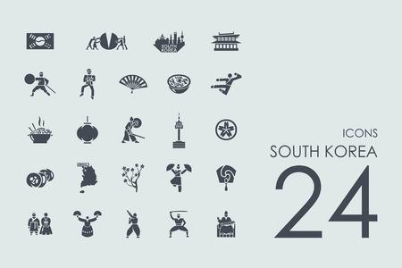 현대 간단한 아이콘의 한국 벡터 설정 일러스트