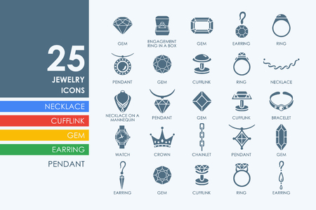 cufflink: jewelry vector set of modern simple icons