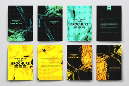 style background: Set of brochure, poster templates in abstract style. Beautiful design and layout
