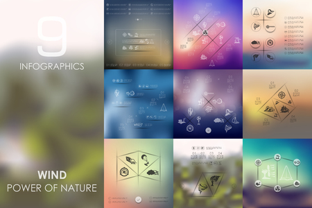 windy energy: wind vector infographics with unfocused blurred background