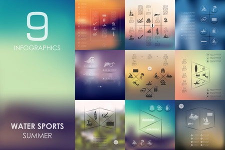 speargun: water sports vector infographics with unfocused blurred background