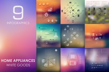 household appliances: household appliances vector infographics with unfocused blurred background