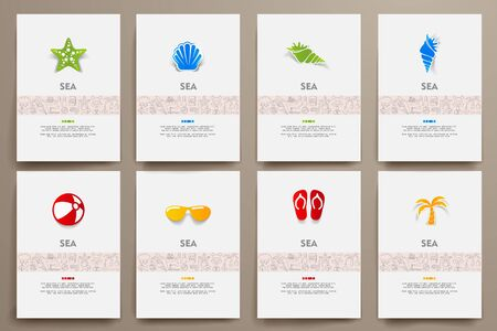 marketing target: Corporate identity vector templates set with doodles sea theme. Target marketing concept Illustration