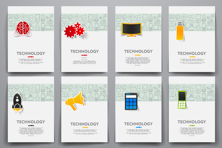 Corporate identity vector templates set with doodles technology theme. Target marketing concept