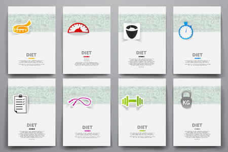 Corporate identity vector templates set with doodles diet theme. Target marketing concept