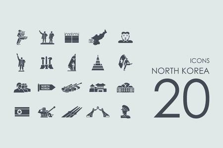 communistic: North Korea vector set of modern simple icons