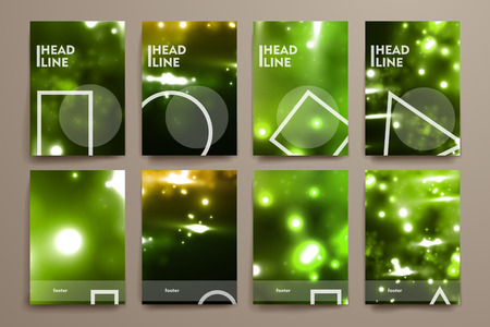 backdrop design: Set of brochure, poster templates in neon molecule structure style. Beautiful design and layout