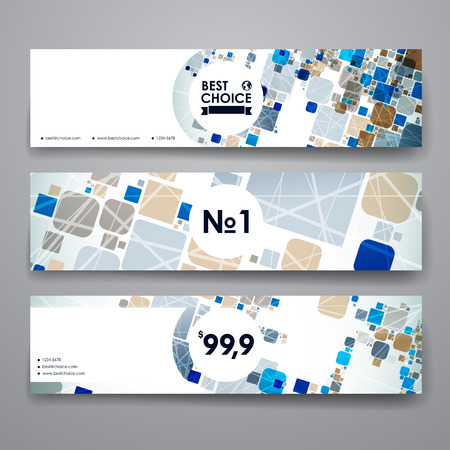 set template: Set of modern design banner template in abstract background style. Beautiful design and layout Illustration