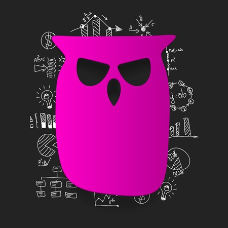 school background: Drawing business formulas: owl