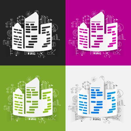 skyscrapers: drawing business formulas. city skyscrapers