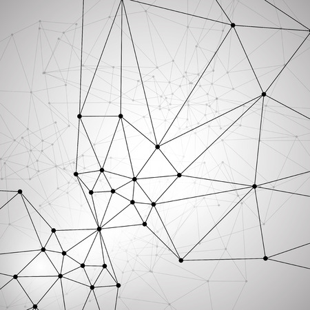 灰色の背景と抽象の分子構造図