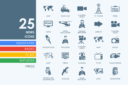 preview: news vector set of modern simple icons