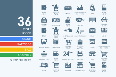convenient store: store vector set of modern simple icons