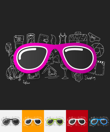 four eyes: hand drawn simple elements with sunglasses paper sticker shadow Illustration