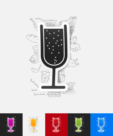 spirituous beverages: hand drawn simple elements with cocktail paper sticker shadow Illustration