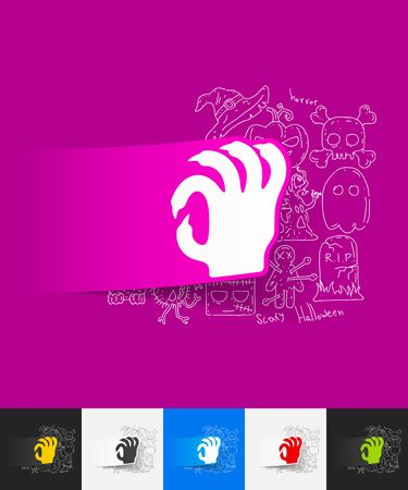 hand paper: hand drawn simple elements with hand paper sticker shadow