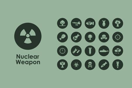 disturbing: It is a set of nuclear weapon simple web icons