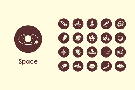 It is a set of space simple web icons Illustration