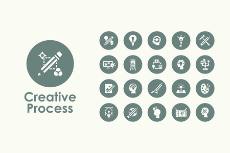 It is a set of creative process simple web icons Vectores