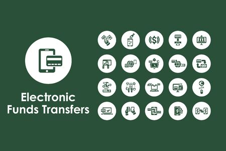 It is a set of electronic funds transfers simple web icons