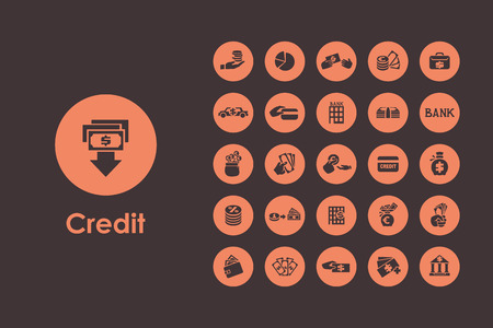 debt collection: It is a set of credit simple web icons Illustration