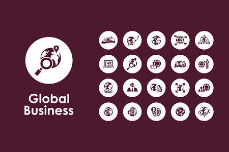 It is a set of global business simple web icons