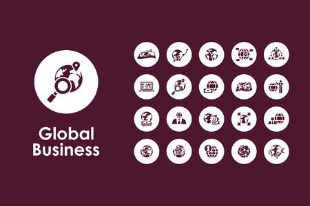 negocios internacionales: Se trata de un conjunto de iconos simples mundial de negocios web