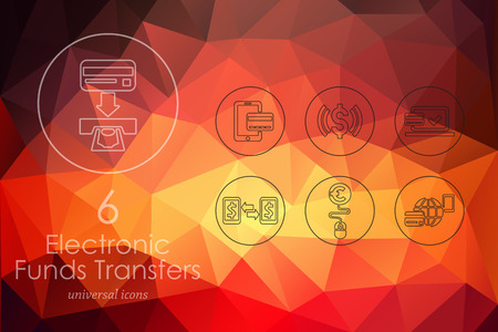 transfers: electronic funds transfers modern icons for mobile interface on blurred background