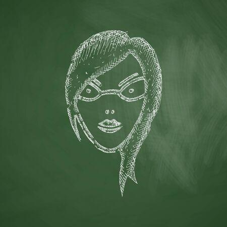 egghead: face girl icon Illustration