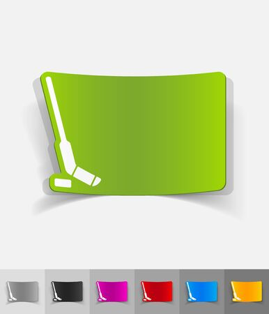 hockey stick: hockey stick and puck paper sticker with shadow. Vector illustration Illustration