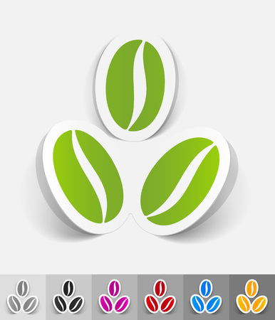 soluble: three coffee beans paper sticker with shadow. Vector illustration