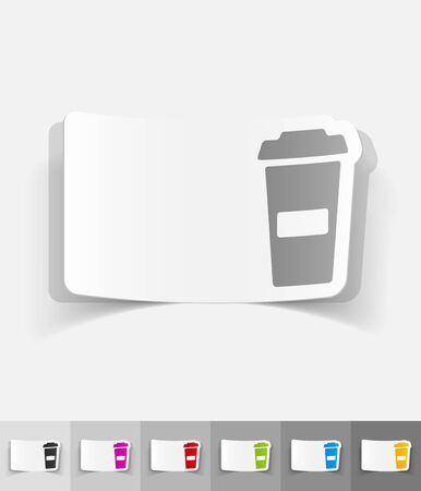 cheerfulness: cup of coffee paper sticker with shadow. Vector illustration