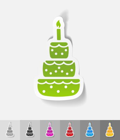 cake paper: cake paper sticker with shadow. Vector illustration Stock Photo