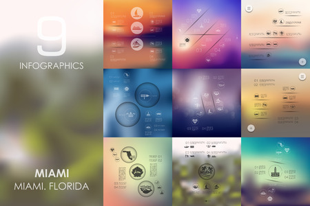 miami south beach: Miami vector infographics with unfocused blurred background