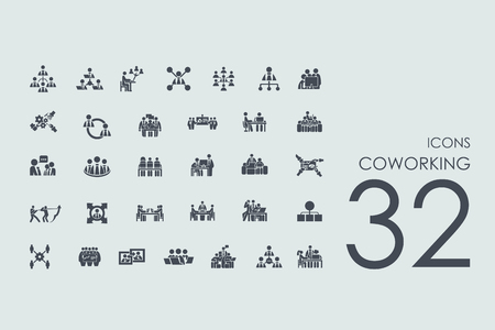 coworking vector set of modern simple icons Illustration