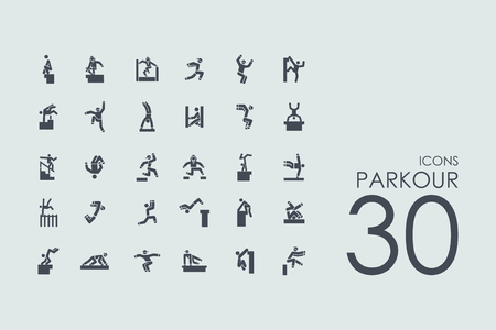 parkour: parkour vector set of modern simple icons Illustration