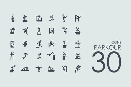 parkour vector set van de moderne eenvoudige pictogrammen Stock Illustratie