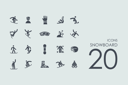 snowboard vector set van de moderne eenvoudige pictogrammen