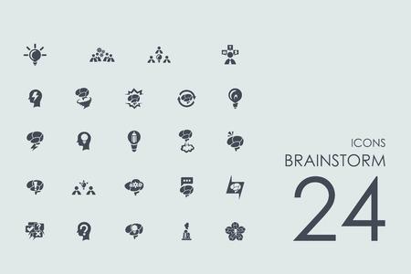 brainstorm: brainstorm vector set of modern simple icons