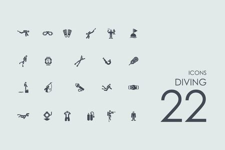 fish exhibition: diving vector set of modern simple icons Illustration